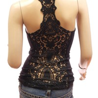 PattyBoutik Women's Crochet Lace Racerback Tank Top