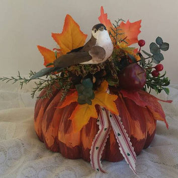Hand painted & decorated Wooden Gourd, Brown Bird Gift, Victorian Holiday Gourd, Gifts Under 25, Housewarming, Thank you or Friendship gift