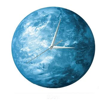 Luminous 3d diy wall clock acrylic moon shape watch