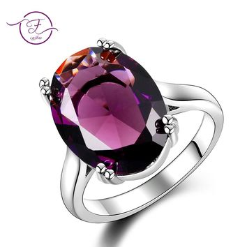 Elegant Natural Amethyst Silver Ring Oval 13MMX18MM Dark Purple Multicolor 925 Jewelry Rings For Women Fashion Anniversary Gift