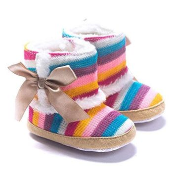 0-18 Months Baby Girl Boy Multicolor Striped Shoes First Walkers Newborn Winter Warm Boots Toddler Infant Sole Soft Shoes