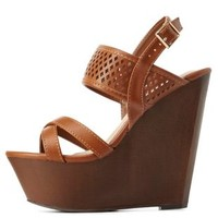 Chestnut Bamboo Perforated Wooden Platform Wedges