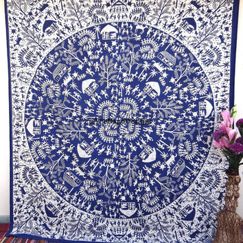 Indian village tapestry , Tribal Tapestry,African Tapestry , Mandala, Star Tapestry, Wall Hanging, Wall Decor, Bedspread