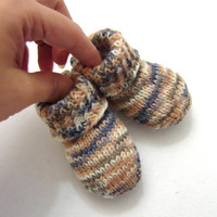 Camel and blue striped newborn socks, thin wool baby booties that stay on, handknit, READY TO SHIP