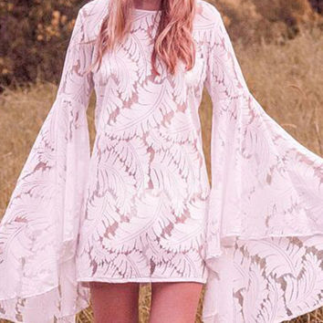 White Lace Extreme Bell Sleeve Bodycon Dress