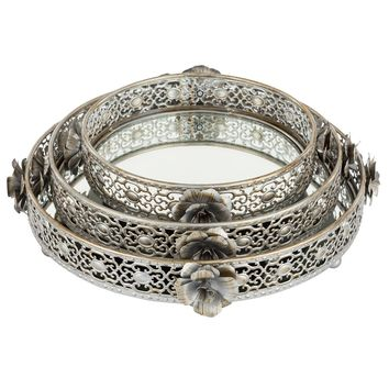 3-Piece Antique Round Floral Mirror-Top Decorative Tray Set (Silver)