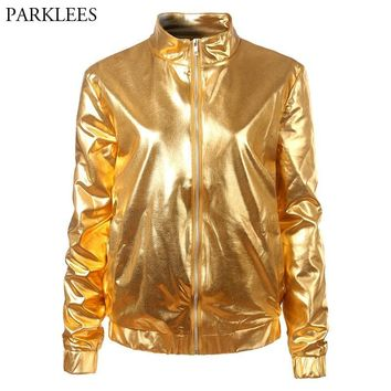 Trendy Gold Metallic Coated Women Jacket 2018 Brand New Stand Collar Zipper Front Bomber Jacket Women Shiny Nightclub Jackets and Coats AT_94_13