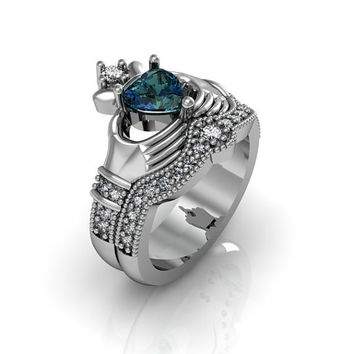 Claddagh Ring -  Created Alexandrite Sterling Silver Love and Friendship Engagement Ring Set