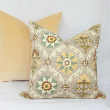 "Teal, yellow & tan floral decorative throw pillow cover. 18"" x 18"". accent pillow. toss pillow."