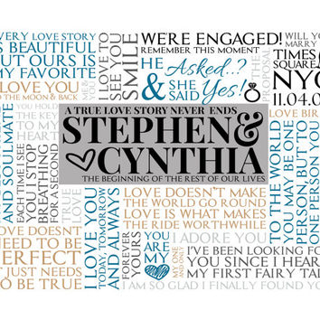 Personalized Modern Engagement Word Art