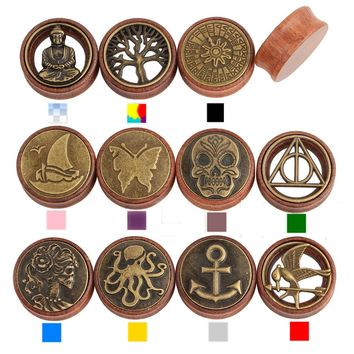 Pair Tree Of Life Different Logos Saddle Fit Ear Plugs Wood Flesh Tunnel Organic Ear Expander Piercing Stretchers Body Jewelry