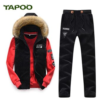 TAPOO 2017 new TAPOO casual suit three-piece sleeveless jacket three yards (vest + pants + sweater) 831