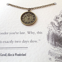 Alice in Wonderland Necklace - White Rabbit Pocket Watch Charm