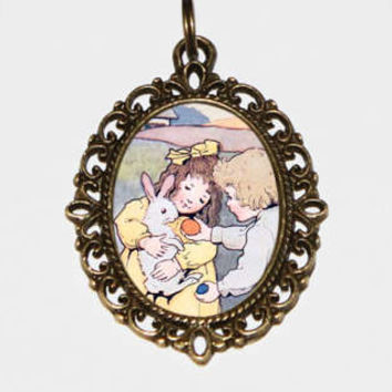 Easter Children Necklace, Rabbit, Eggs, Bunny Jewelry, Bronze Oval Pendant