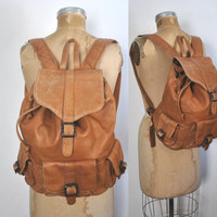 Honey Brown Leather Backpack / Bookbag distressed / unisex