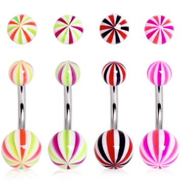 UV Acrylic Candy Striped Navel Ring