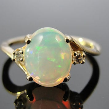 Vintage Opal Bypass Ladies Ring, Yellow Gold and Small Diamonds RGOP111P