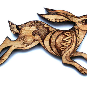 Hare Wall Hanging, wood, Pyrography (Wood burning), Wall art, hare decor, hare art, moon gazing hare, woodland decor, wood wallhanging, uk,