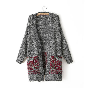 Cardigan Knit V-neck Long Loose 3/4 Sleeves Sweater
