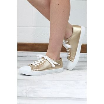 Shimmery Metallic Sneakers {Gold}