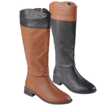Journee Collection Women's 'Laura' Color Blocked Round Toe Boots | Overstock.com