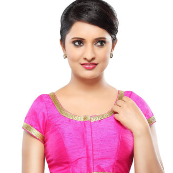 Designer Pink Dupion Silk Front Open Ready-made Saree Blouse Choli SNT X-340-SL