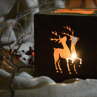 Christmas candle holder-Wood deer centerpiece-Rustic-Christmas Tealight-decor-tea light holder-candle holders-Xmas decoration-candlestick