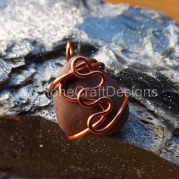 Heart Shaped Red Stone Pendant Copper Wire Wrapped Handcrafted Jewelry Swirly Pattern Design Artisan Charm Dangle Piece Crafting Beading