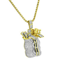 14k Gold Finish Custom Money Bag Pendant Lab Diamonds Money Tank Iced Out