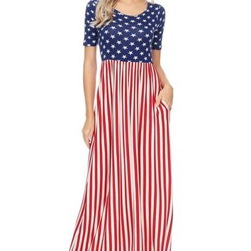 American Flag Maxi Dress W/ Back Strap