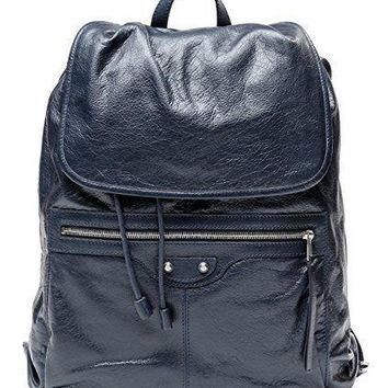 Wiberlux Balenciaga Men's Classic Traveler's Real Leather Backpack