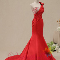 2014 hot sale Mermaid/Trumpet sexy Red elegant Applique prom dresses one shoulder long formal evening dress/ party dress/ women dress custom