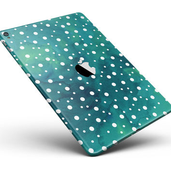 "Green and White Watercolor Polka Dots Full Body Skin for the iPad Pro (12.9"" or 9.7"" available)"