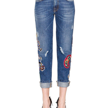 Denim Jeans with Paisley Patches, Size: