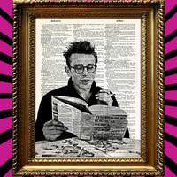 James Dean in glasses reading poetry at breakfast table classic vintage Dictionary Paper Book Art Print Upcycled Recycled Repurposed 8x10