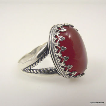 Large Victorian Sterling Silver Carnelian Ring, Ornate Silver Ring, Filigree Ring, Size 8
