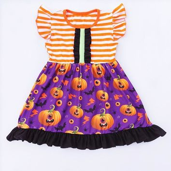 2018 Fall Winter Halloween Girl Dress Children Striped Pumpkin Printed Boutique Dress Toddler's Pearl Dress For Party