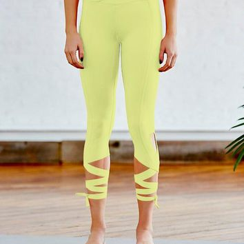JIGERJOGER 2017 Fall New Neon yellow TIE UP Women's free move Yoga Legging Dance Capris Sport workout pant tights Activewear