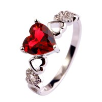 Rosey Red Heart Gem Ring
