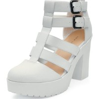 White Chunky Gladiator Shoe Boots