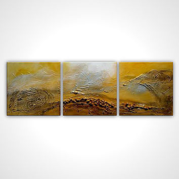 Abstract art - Abstract oil painting - Yellow painting - Stretched canvas artwork - Modern art ready to hang wall art - brown