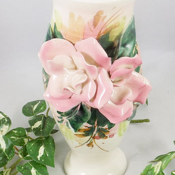 Italian Floral Vase, Raised Flowers, Pink Roses, Hand Crafted Flowers, Hand Painted