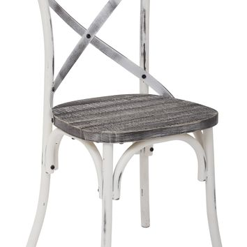 Office Star Antique White/Vintage Crazy Horse Somerset X Back Chair