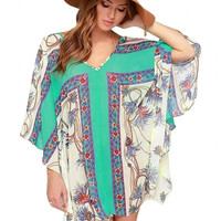 Asymmetric Batwing Sleeve Printed Dress