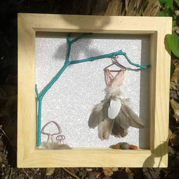 Fairy Art Frame, Wire Wrapped Fairy Shadow Box Frame Wall Art, Cute Girl Nursery Gift, Unique Wire Wrapped Fairies Dress Woodland Theme