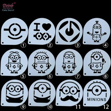6&9 Inch Cartoon Minions Tiramisu DIY Cake Baking Craft Tool Stencil Pad Mold Decoration Wall Painting Moulds Album Embossing