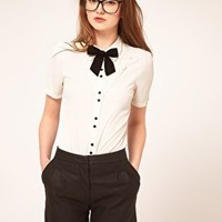 ASOS | ASOS Blouse With Broderie Anglaise And Bow at ASOS