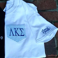 Custom Monogrammed Greek Seersucker Pocket Tee. Can add big or little on the sleeve or the pocket- Choose from several colors and fabrics