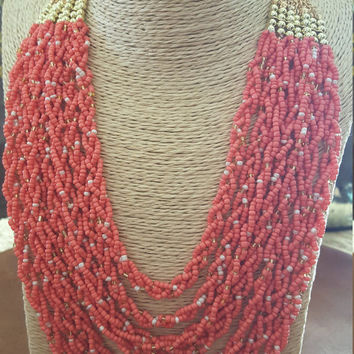 Beach and trendy layered style 7 twists multi layer beads statement necklace.