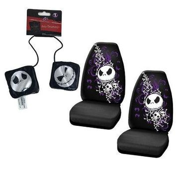 Licensed Official New Set Nightmare Before Christmas Jack Car Front Seat Covers & Hanging Dice